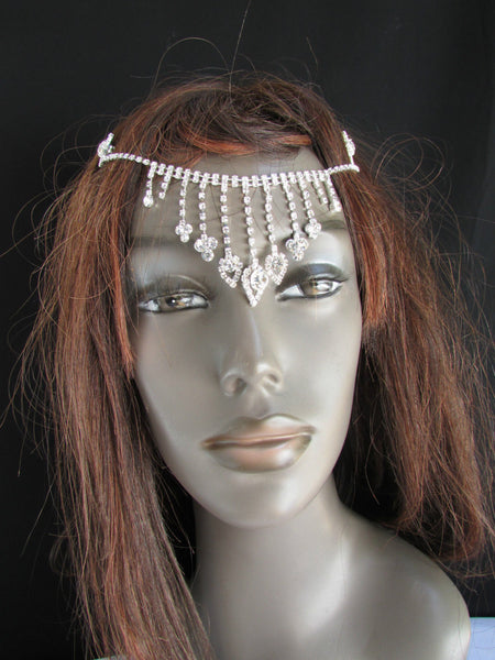 New Women Silver Rhinestones Fashion Drapes Metal Head Chain Fashion Jewelry Hair Accessories Wedding - alwaystyle4you - 2