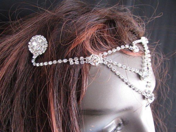 New Women Silver Head Metal Chains Big Beads Dressy Hair Pin Rhinestones Fashion Drapes Metal Fashion Jewelry Hair Accessories Wedding - alwaystyle4you - 5