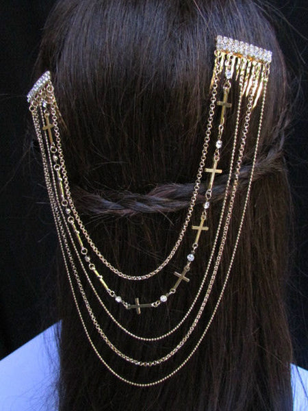 New Trendy Women Gold Multi Cross With Rhinestones Metal Chain Front Forehead Back Drapes Hair Pin Fashion Jewelry Hair Accessories Long - alwaystyle4you - 5