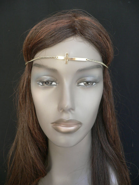 Brand New Casual One Size Elastic Stretchhair Women Gold Cross Metal Head Chain Fashion Hair Piece Jewelry Wedding Party Beach - alwaystyle4you - 3