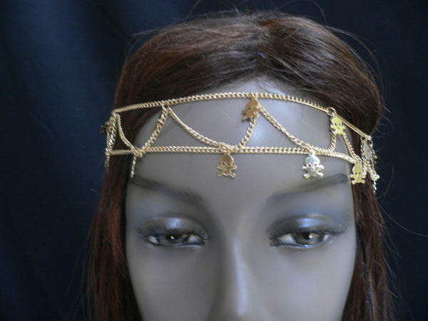 Gold Metal Head Chain Head Band Multi Skeleton Skull Charms Jewelry Hair Women Accessories