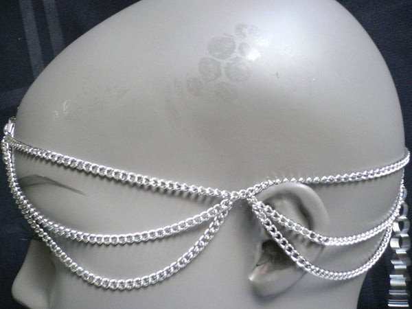 Brand New One Size Brand New Women Silver Circlet Clear Rhinestone Metal Head Chain Fashion Hair Piece Jewelry Wedding - alwaystyle4you - 4