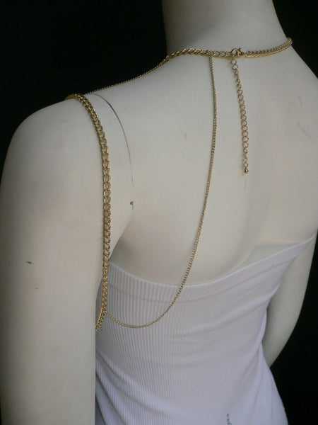 New Women Casual Gold Metal Long Chain One Side Shoulders Body Chain Necklace Fashion Jewelry Clear Rhinestones - alwaystyle4you - 3