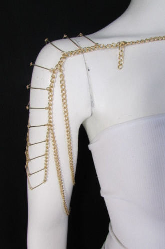 Gold Metal Chain Necklace Double Shoulder Drapes Lady Gaga Style Brand New Women Fashion Accessories