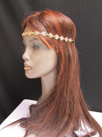 One Size Brand New Women Elastic Head Chain Gold Stars Fashion Hair Piece Jewelry Wedding - alwaystyle4you - 4
