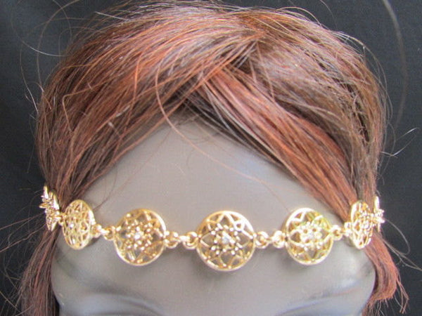 One Size Brand New Women Elastic Head Chain Gold Stars Fashion Hair Piece Jewelry Wedding - alwaystyle4you - 1