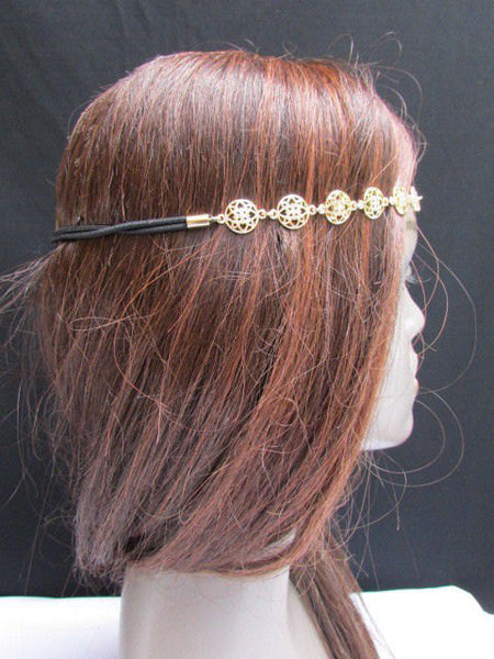 One Size Brand New Women Elastic Head Chain Gold Stars Fashion Hair Piece Jewelry Wedding - alwaystyle4you - 3