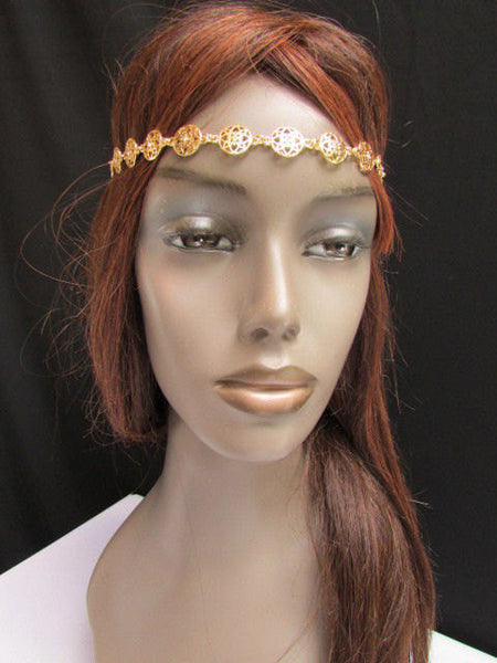 One Size Brand New Women Elastic Head Chain Gold Stars Fashion Hair Piece Jewelry Wedding - alwaystyle4you - 2
