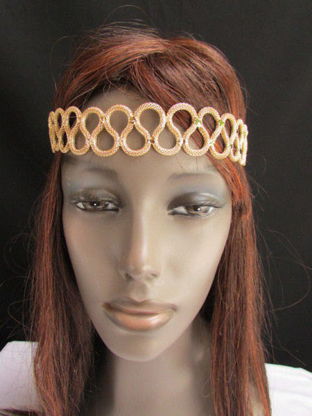 New Rhinestone Gold Women Fashion Metal Head Band Elegant Style Forehead Jewelry Hair Accessories - alwaystyle4you - 3