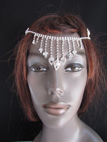 New Women Silver Rhinestones Fashion Drapes Metal Head Chain Fashion Jewelry Hair Accessories Wedding - alwaystyle4you - 5