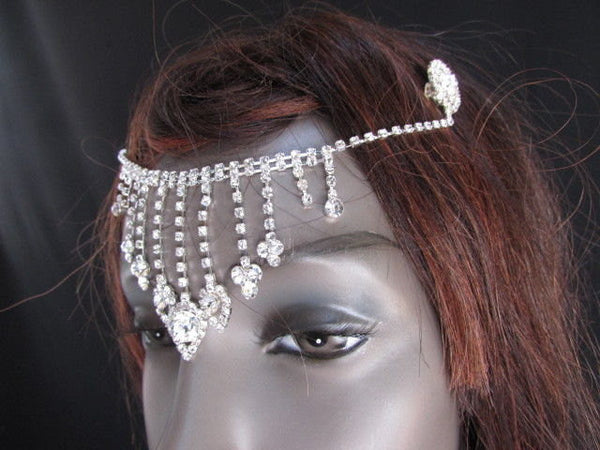 New Women Silver Rhinestones Fashion Drapes Metal Head Chain Fashion Jewelry Hair Accessories Wedding - alwaystyle4you - 4