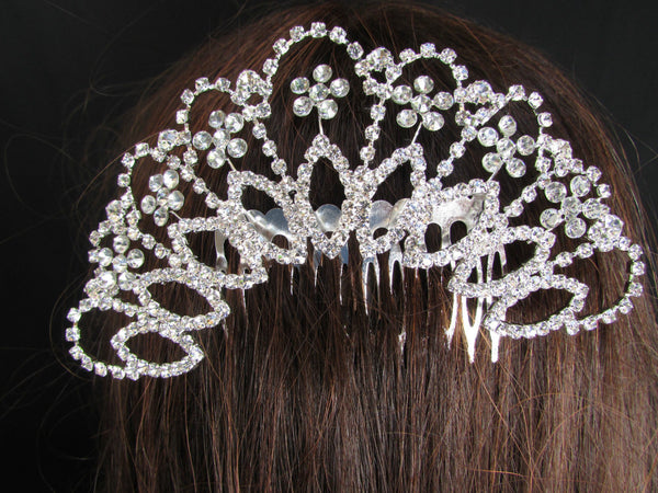 New Women Silver Large Metal Fans Flowers Dressy Pin Rhinestones Fashion Jewelry Hair Accessories Wedding - alwaystyle4you - 5