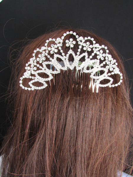 New Women Silver Large Metal Fans Flowers Dressy Pin Rhinestones Fashion Jewelry Hair Accessories Wedding - alwaystyle4you - 4