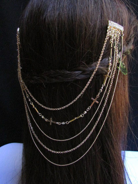 New Trendy Women Gold Multi Cross With Rhinestones Metal Chain Front Forehead Back Drapes Hair Pin Fashion Jewelry Hair Accessories Long - alwaystyle4you - 1