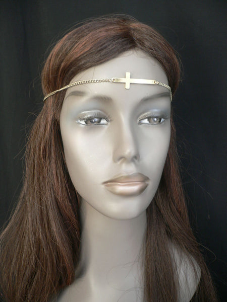 Brand New Casual One Size Elastic Stretchhair Women Gold Cross Metal Head Chain Fashion Hair Piece Jewelry Wedding Party Beach - alwaystyle4you - 5