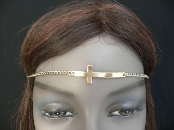 Gold Metal Casual Stretch Back Head Chain Elastic Big Cross Women Hair Piece Jewelry Accessories