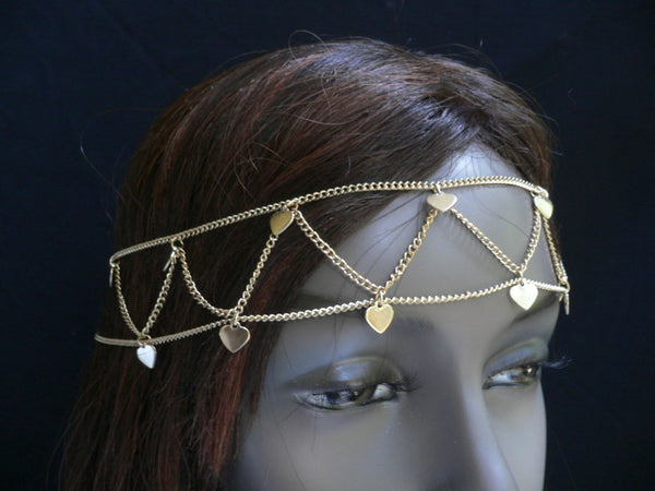 New Women Gold Multi Heart Fashion Metal Head Chain Head Band Fashion Jewelry Hair Accessories Casual Beach Party - alwaystyle4you - 2