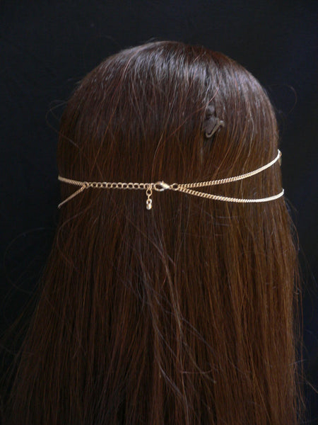 New Women Gold Multi Heart Fashion Metal Head Chain Head Band Fashion Jewelry Hair Accessories Casual Beach Party - alwaystyle4you - 4