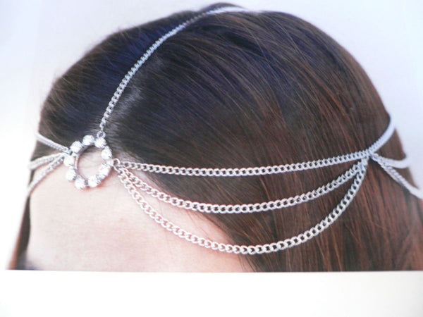 Brand New One Size Brand New Women Silver Circlet Clear Rhinestone Metal Head Chain Fashion Hair Piece Jewelry Wedding - alwaystyle4you - 1