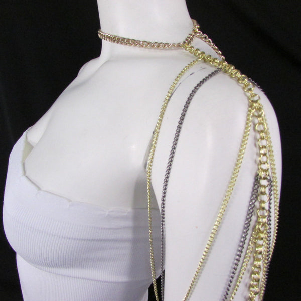 Brand New Women Trendy One Side Body Chain Gold Metal Black Pewter Mesh Chain Necklace Fashion Shoulder Drapes Lady Gaga Women Accessories - alwaystyle4you - 4