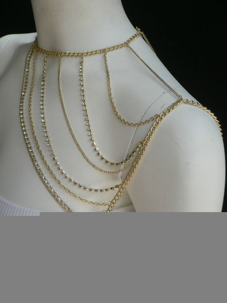New Women Casual Gold Metal Long Chain One Side Shoulders Body Chain Necklace Fashion Jewelry Clear Rhinestones - alwaystyle4you - 2