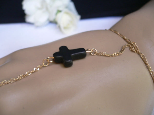 New Women Trendy Black Cross Metal Gold Hand Chain Slave Ring Fashion Classic Bracelet Slave Ring Beach Party - alwaystyle4you - 4