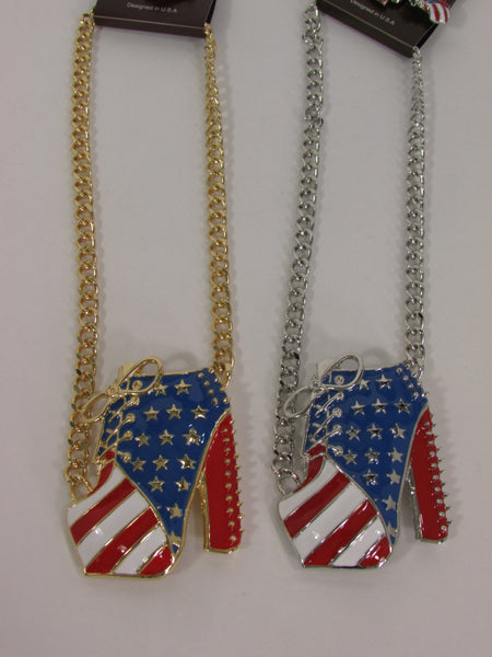 Large Metal High Heels Shoes Pendant Fashion Chains Gold / Silver Rhinestones American Flag USA Stars Necklace + Earrings Set - alwaystyle4you - 5