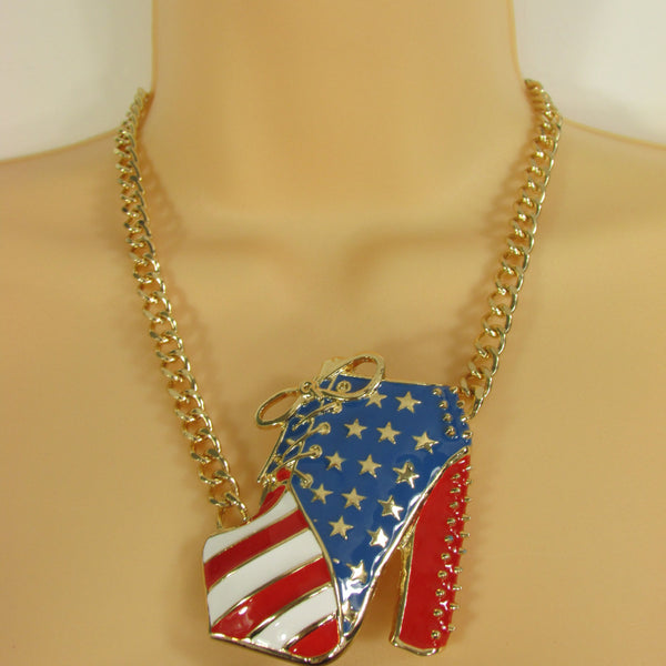 Large Metal High Heels Shoes Pendant Fashion Chains Gold / Silver Rhinestones American Flag USA Stars Necklace + Earrings Set - alwaystyle4you - 2