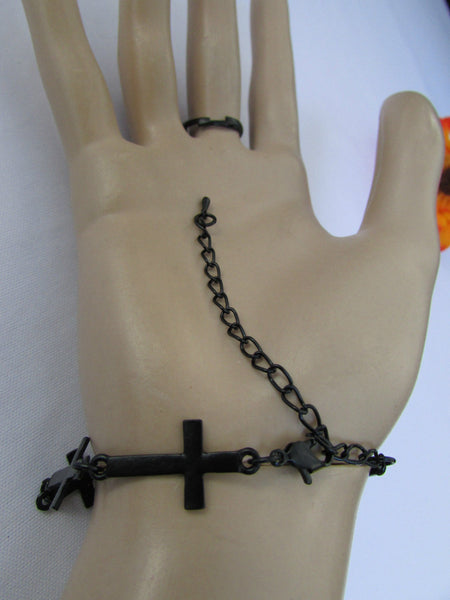 New Women Trendy Multi Black Crosses Metal Hand Chain Slave Ring Fashion Bracelet Slave Ring Beach Party - alwaystyle4you - 5