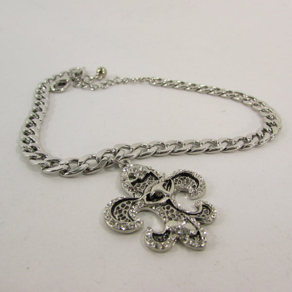 Silver Metal Chain Boot Bracelet Plain Fleur De Lis Lily Flower Charms Football Bull / Rodeo Horse / Horse Bow New Women Fashion Bling Jewelry - alwaystyle4you - 2
