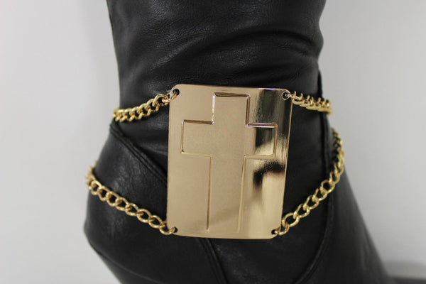 Gold Bling Metal Plate Big Cross Boots Chain Links Charm Bracelet New Women Western Fashion - alwaystyle4you - 5