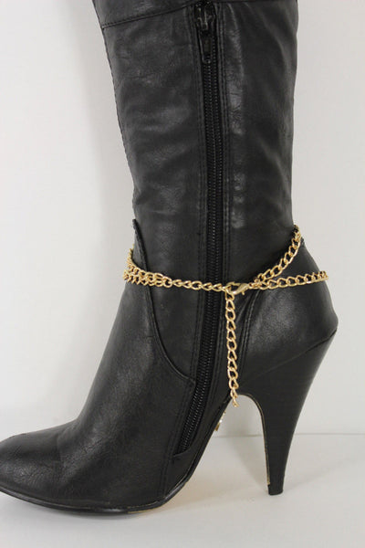 Gold Bling Metal Plate Big Cross Boots Chain Links Charm Bracelet New Women Western Fashion - alwaystyle4you - 3