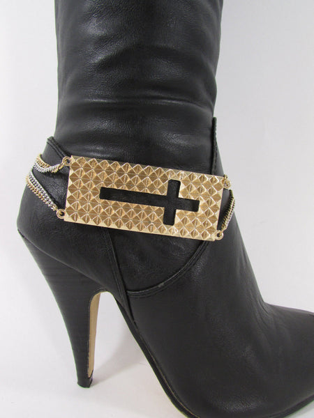 Gold / Pewter Metal Plate Cross Hollow Charm Links Boot Chain Bracelet New Women Fashion - alwaystyle4you - 3