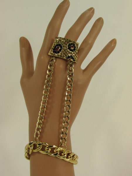 New Women Hand Chain Fashion Bracelet Bling Jewelry Gold Metal Chains Big Leopard Black Brown Rhinestones Slave Ring - One Size Fits All - alwaystyle4you - 5