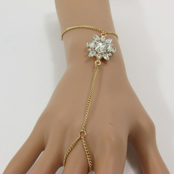 New Women Fashion Hand Bracelet Jewelry Thin Gold Metal Classic Chain Links Silver Rhinestones Charm Slave Ring One Size Beach Wedding Party - alwaystyle4you - 1