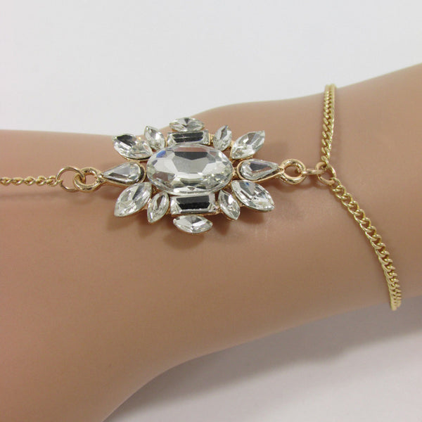 New Women Fashion Hand Bracelet Jewelry Thin Gold Metal Classic Chain Links Silver Rhinestones Charm Slave Ring One Size Beach Wedding Party - alwaystyle4you - 2
