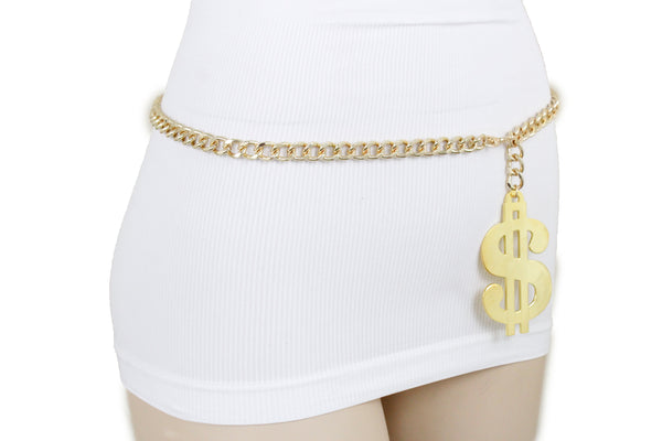 New Women Gold Metal Chain Dollar Money $ Charm Hip Hop Hood Bling Style Belt Size M L XL