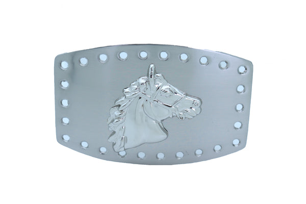 Brand New Men Women Western Fashion Belt Buckle Silver Metal Rodeo Horse Big Square Holes