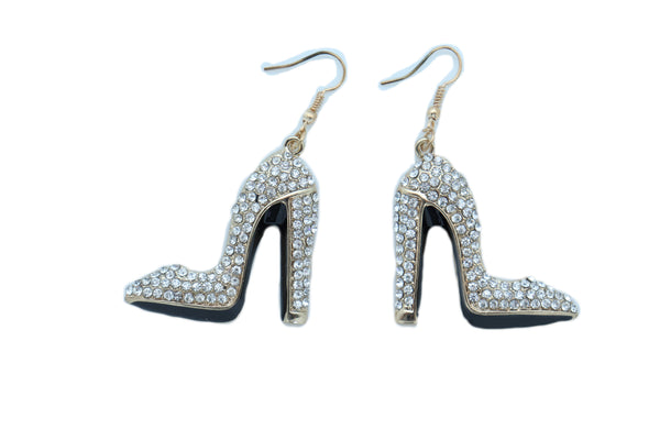 Brand New Women Earrings Set Gold Metal Fancy Fashion Pump Shoes Earrings Bling Sexy Party Look