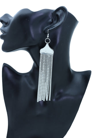 Brand New Women Earrings Fashion Jewelry Silver Mesh Metal Long Dangle Tassel Bling Style