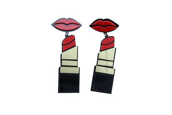 Brand New Women Earrings Set Jewelry Gold Lipstick Red Lips Celebrity Style Glam Fashion