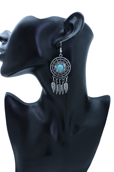 Women Earrings Set Fashion Jewelry Antique Silver Metal Feathers Turquoise Blue Indian Style