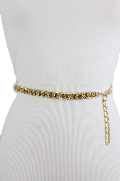 New Women Gold Metal Chain Links Mesh Bling Fashion Belt Skinny Waistband Fit XS S M
