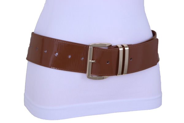 Brand New Women Waist Hip Wide Band Brown Color Fashion Belt Gold Metal Buckle Size M L XL