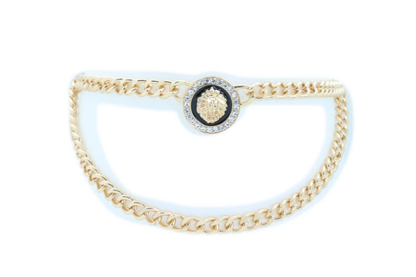 Brand New Women Hip High Waist Sexy Fashion Belt Gold Metal Chain Lion Charm Buckle M L XL