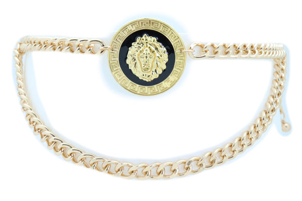Brand New Women Night Club Party Belt Gold Metal Chain Links Lion Bling Charm Size XS S M