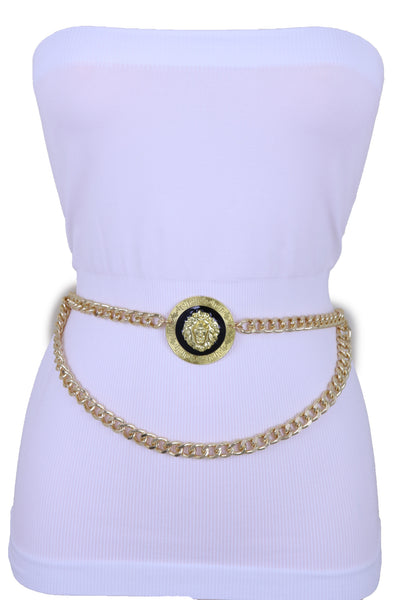 Brand New Sexy Women Gold Metal Chain Links Waistband Big Lion Charm Belt Fit Size M L XL