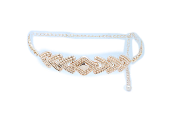 Brand New Women Urban Fashion Belt Hip High Waist Gold Metal Chain Arrowhead Charm XS S M
