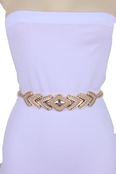 Women Fashion Belt Hip Waist Gold Metal Chain Link Arrowhead Charm Buckle Adjustable Band Plus Size XL XXL