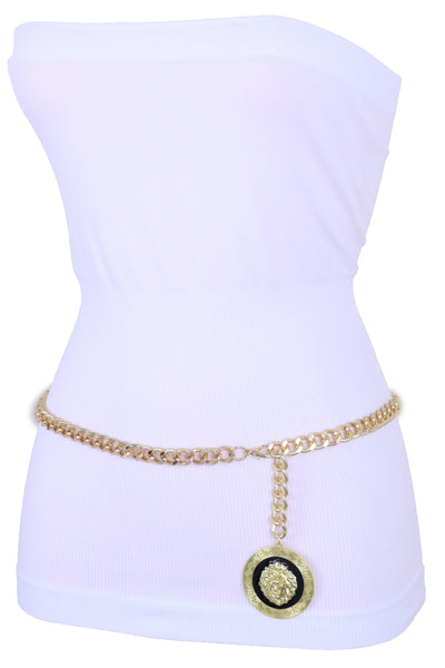 Brand New Women Gold Metal Chain Trendy Style Skinny Belt Lion Charm High Waist Hip XL XXL